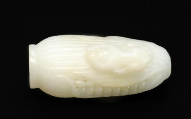 Chinese Opaque White Carved Glass Snuff Bottle, Corn