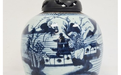 Chinese blue and white ginger jar, ovoid and painted in unde...