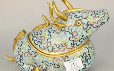 Chinese cloisonne covered container in form of a bull