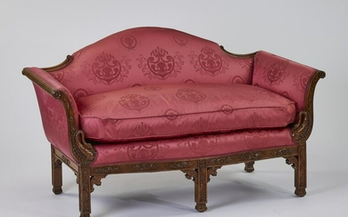 Chippendale style settee in cranberry silk