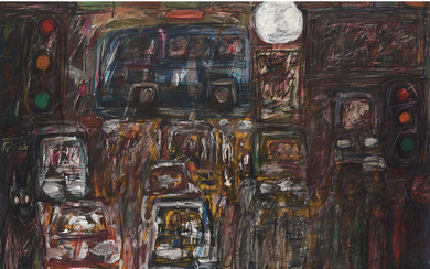 David Koloane South African 1938–2019 Full Moon 2017 oil on canvas signed and dated bottom centre 121 x 160 cm