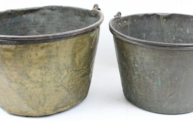 Early, Mid 19th c Brass and Iron Kettles