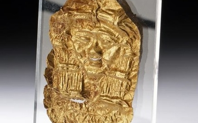 Egyptian 20K+ Gold Repousse Plaque of Hathor
