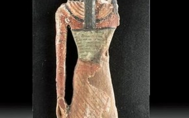 Egyptian Wood, Linen, & Painted Gesso Statue - ex Ede