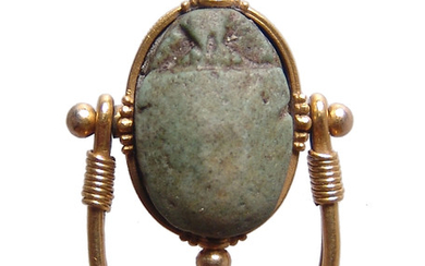 Egyptian faience scarab set in beautiful gold swivel ring
