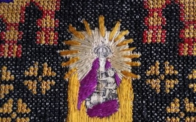 Embroidery 1900, with image of Virgin cross stitch - Embroidery on fabric