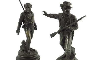 Emile Guillemin, a pair of 19th century French bronze figure...