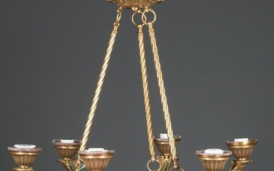 Empire-Style Patinated Metal Six-Light Chandelier