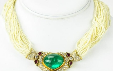 Estate 53 Cts Emerald Necklace w Diamonds & Ruby