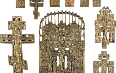 FIVE BRASS CRUCIFIXES AND FIVE SMALL BRASS ICONS