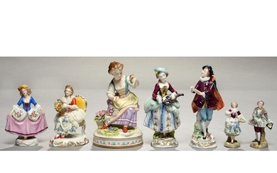 FIVE GERMAN PORCELAIN FIGURES OF MUSICIANS AND FLOWER GATHER...