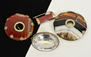 FOUR AGATE AND GEM BROOCHES, to include an oval rock crystal...