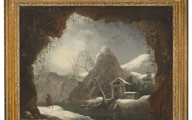 FRANCESCO FOSCHI (ANCONA 1710-1780 ROME), Winter landscape from a cave