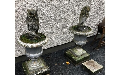 Fine pair of Regency cast iron urns, complete with 2 limesto...