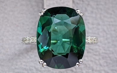 Finest Quality 7.74 Carat Deep Green Tourmaline And Diamonds Ring - 14 kt. White gold - Ring - 7.74 ct Tourmaline - Diamonds, NO RESERVE