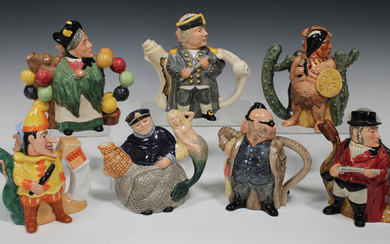 Five Royal Doulton limited edition double-character teapots and covers, comprising Gamekeeper and Po