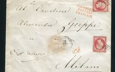 "France 1864 - Rare letter from Constantinople bound for Milan with two No. 24 stamps - ""GC 5083"" postmark"