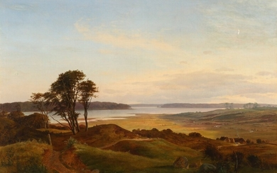 Frederik Rohde: Landscape from North Zealand. Signed with monogram and dated 1841. Oil on canvas. 84.5×119.5 cm.