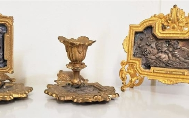 French Bronze Candle Stick, napkin Holder and Candle