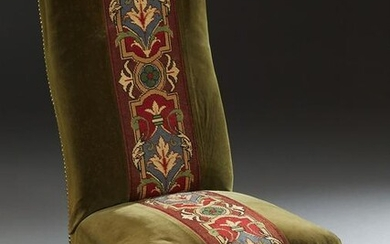 French Carved Mahogany Upholstered Side Chair, c. 1870