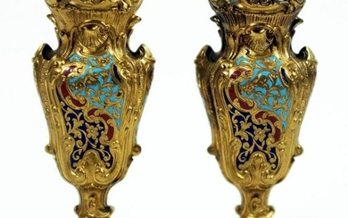 French Champleve Miniature Bud Vases Late 19Th Century