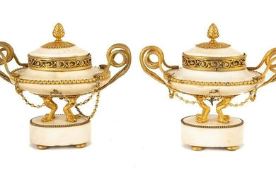 French Louis XVI Marble and Gilt Bronze Cassoulets