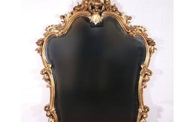 French Rococo style gilt overmantle wall mirror with C scrol...