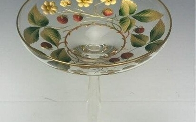 GILT AND ENAMELED MOSER TAZZA