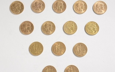 GOLD CURRENCY: 14 gold coins of 20 gold...
