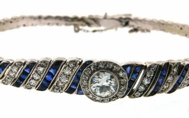 GORGEOUS Art Deco Platinum, Diamond & Sapphire Bracelet