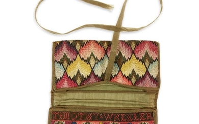 Gentleman's canvaswork pocketbook New England, late 18th century Worked...
