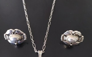 Georg Jensen - 925 Silver - Earrings, Necklace with pendant