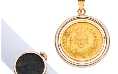 Gold Coin, Gold Jewelry The lot includes a pendant...