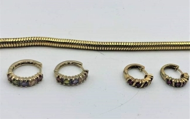 Gold Wash .925 Sterling Silver Bracelet 2 Pair Earrings