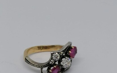 Gold and silver Ruby and diamond ring Circa 1930
