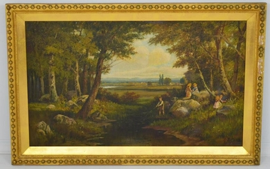 Great Antique O/C Painting Of Children Frolicking by