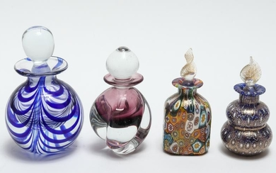 Group Of Colored Glass Perfume Bottles, 4