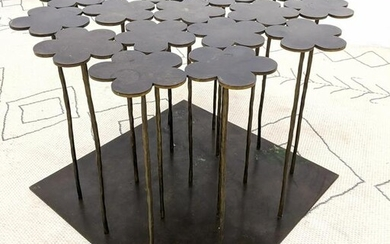 HUBERT LE GALL French 18 Flowers Table. Patinated bronz