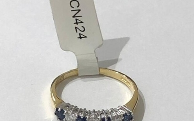 Half Eternity Ring with 0.15ct Diamonds and 3 Sapphires set ...