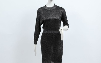 Halston Heritage Black And Silver-tone Dress