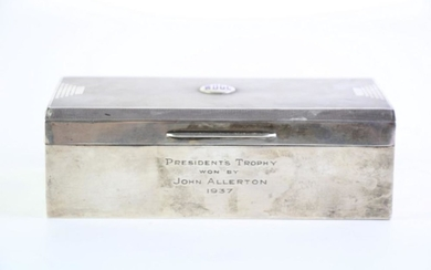 """Hardy Bros Silver Cigar Box with cedar interior, engraved to front """"Presidents Trophy won by John Allerton 1937, Hallmarked London c..."""