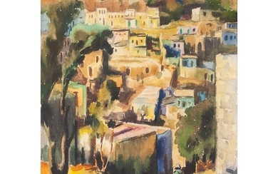 ISRAELI SCHOOL WATERCOLOUR DRAWING View of a hill village wi...