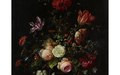 ITALO-DUTCH SCHOOL (PROBABLY 18TH CENTURY) STILL LIFE WITH FLOWERS IN A GLASS VASE