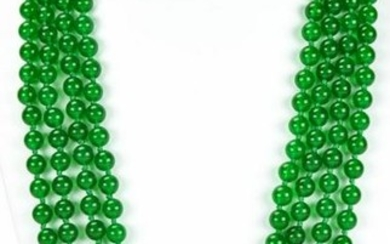 Impressive 100 In Hand Knotted Green Jade Necklace