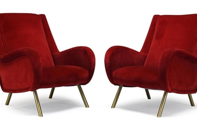 Italian, a pair of 'Senior' style lounge chairs, in the...