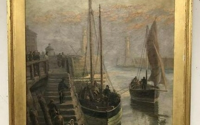 "J R MILES 19TH C O/C TITLED ""MORNING WHITTY HARBOUR"