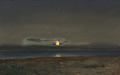 Janus la Cour: Coastal view with a rising moon. Signed and dated J. l. C. 31. aug. 188?. Oil on canvas. 36×59.5 cm.
