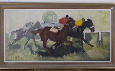 Julius van de Pol - 'First, Second, Third' (Horse racing Scene), 20th century oil on canva