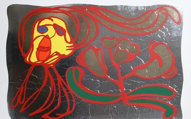 Karel Appel, Floating Silver Passion, Silkscreen on