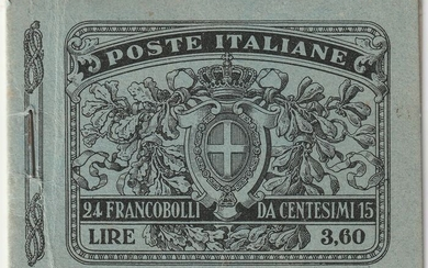 Kingdom of Italy 1911 - Booklet of 24 pieces of 15 c. black no. 96 intact and certified - Sassone N.2